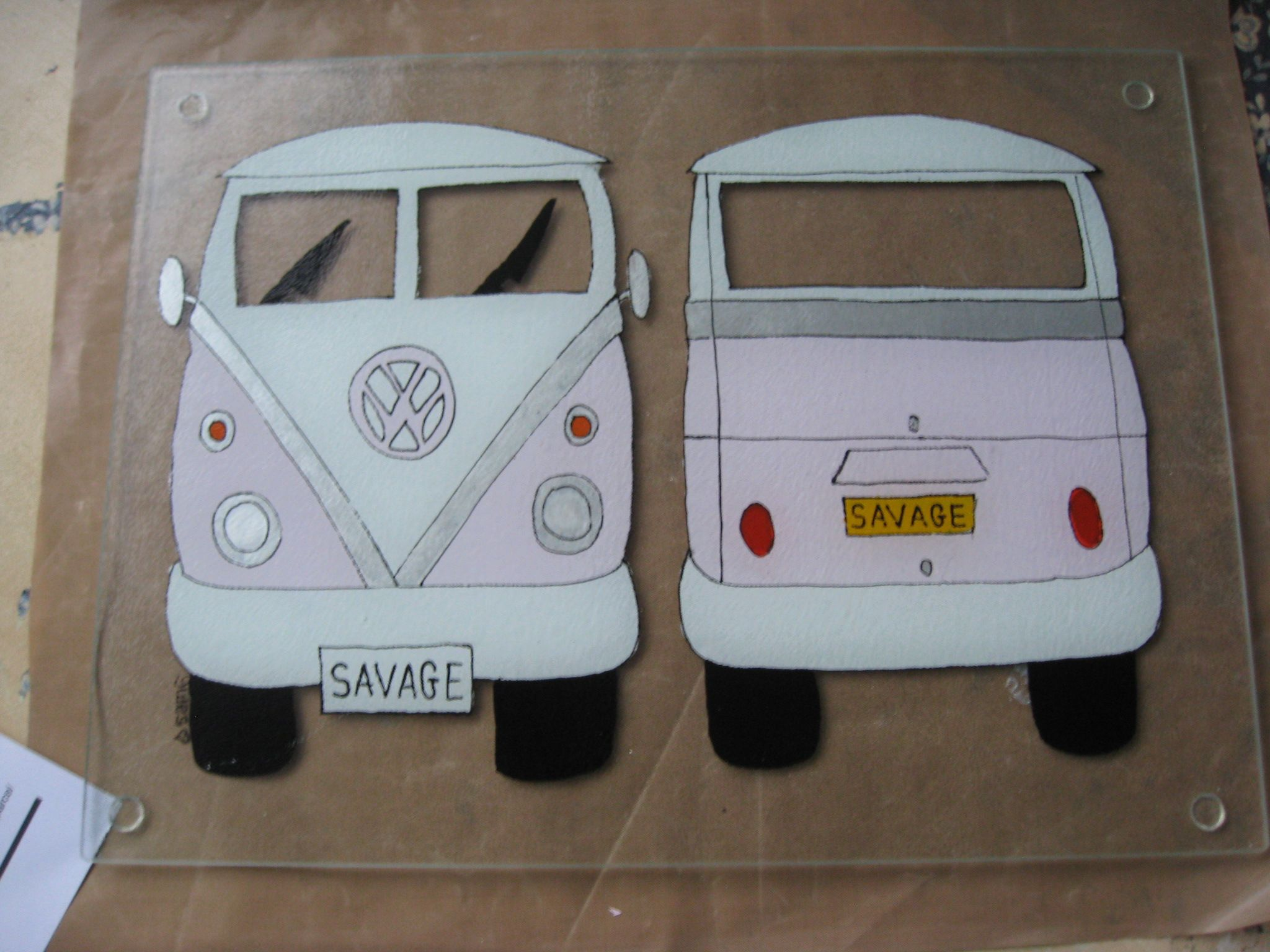 Hand Painted Personalised VW Camper 400mm x 300mm Worktop Saver