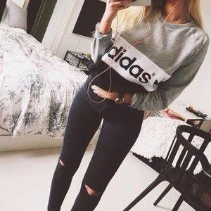 pretty nice c6d57 700b1 Top  cute adidas t-shirt shirt style tumblr weheartit jeans - Polyvore