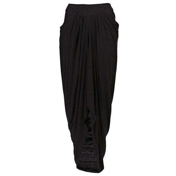 RICK OWENS LILIES 111479 BLACK RAYON/NYLON/WOOL/ANGORA LONG SKIRT (€415) ❤ liked on Polyvore featuring skirts, bottoms, pants, women, rayon maxi skirt, floor length skirts, ankle length skirt, nylon skirt and rayon skirt