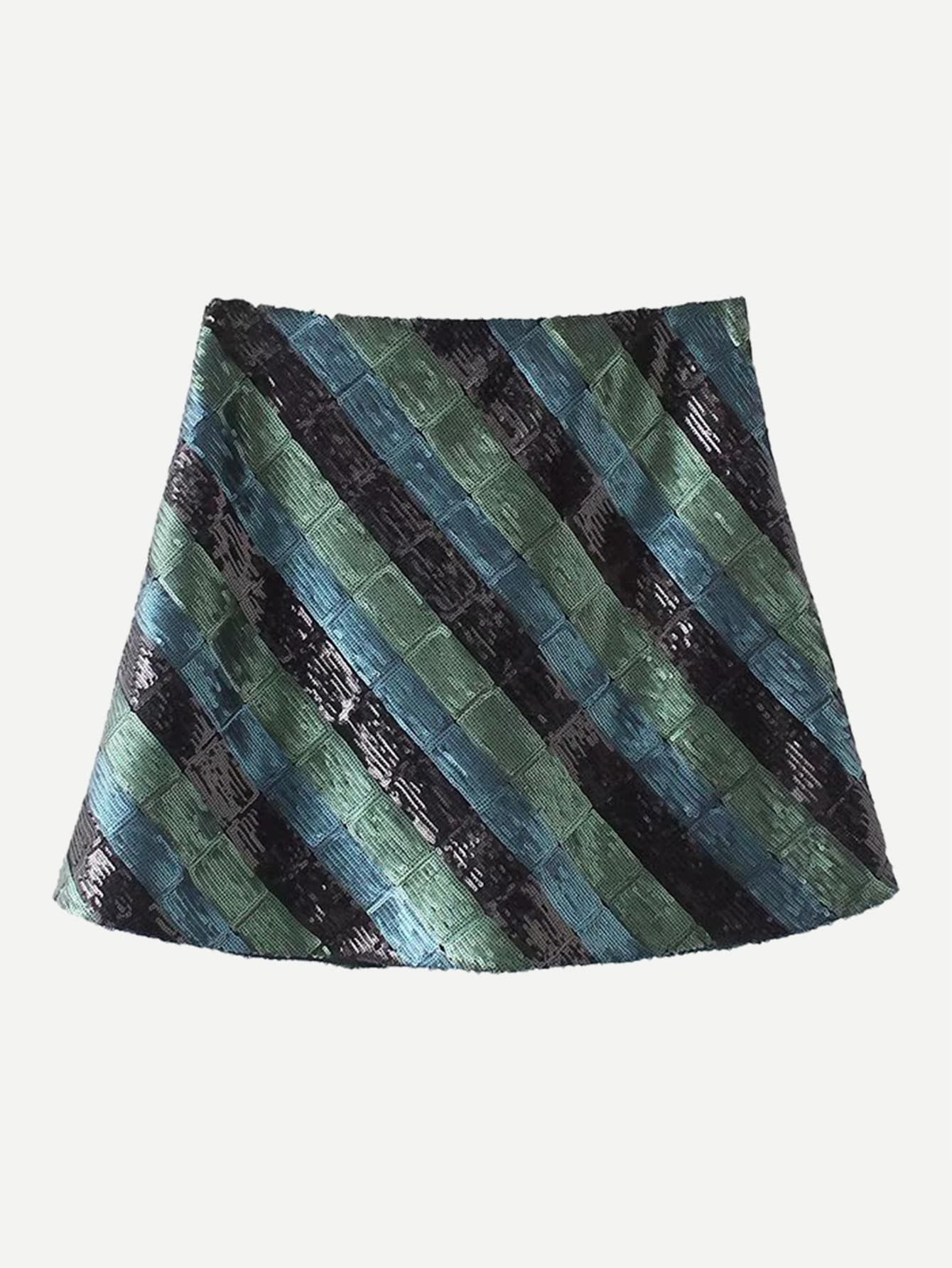 99b25a2a9285c Party A Line Contrast Sequin Striped Sheath Mid Waist Multicolor Above Knee/ Short Length Diagonal Stripe Sequin Skirt