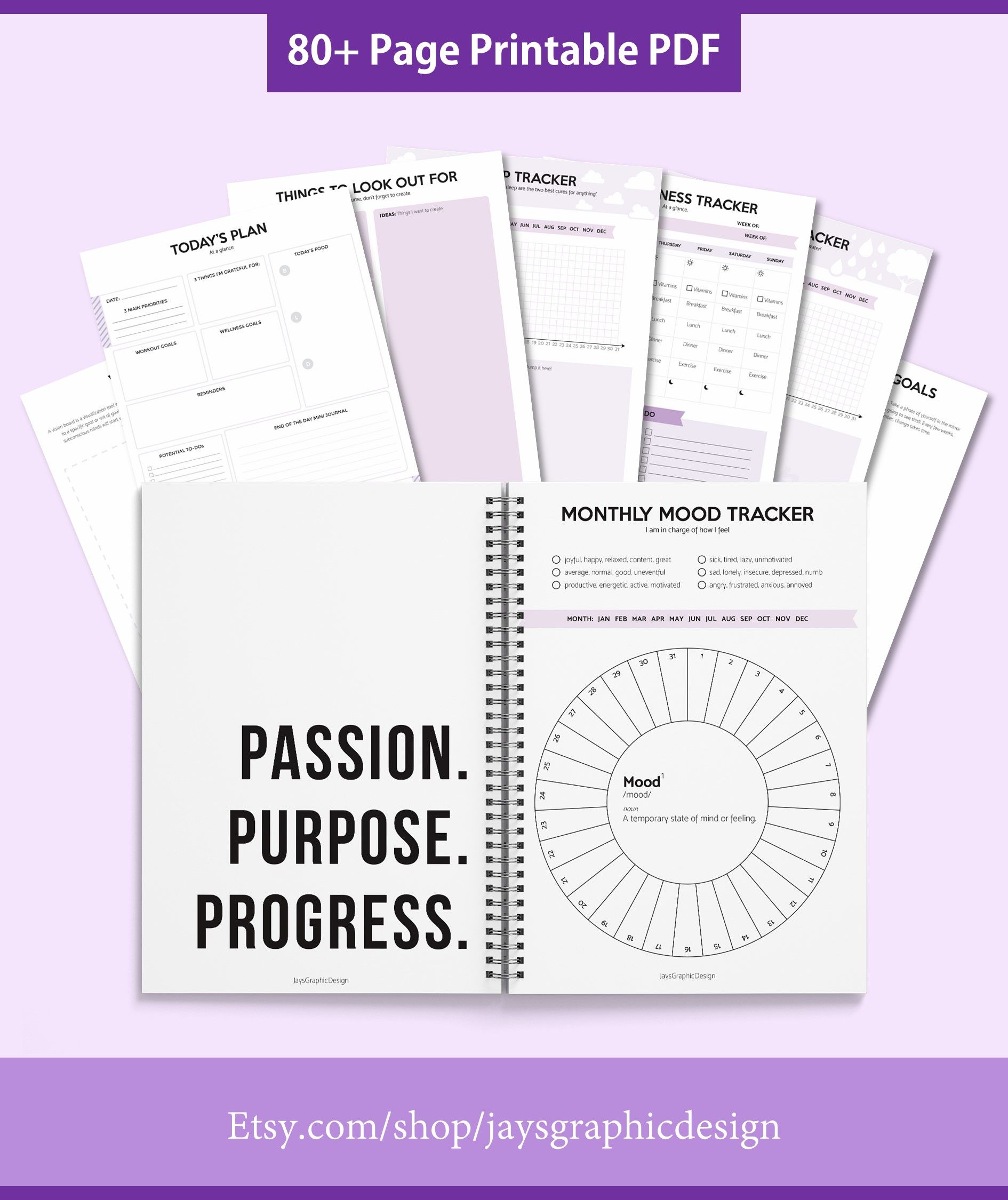 Self Care Planner 80 Pages Printable Planner Ultimate