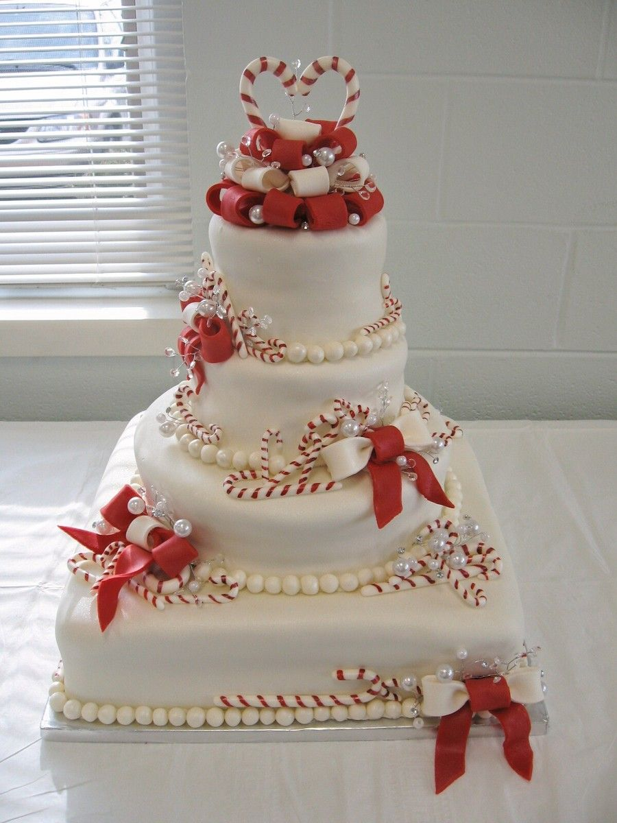 Christmas Candy Cane Wedding Cake A Fondant With Handmade Painted Canes And Gumpaste Bows Pearl Lustre Dust On