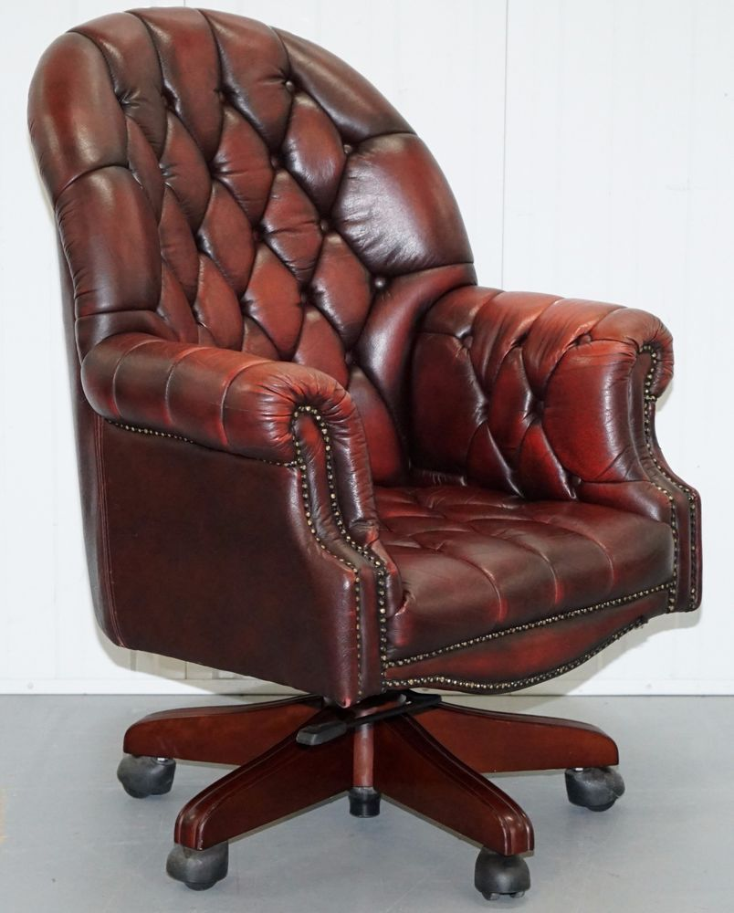 HUGE OVER SIZED CHESTERFIELD DIRECTORS OXBLOOD LEATHER CAPTAINS OFFICE CHAIR  #CHESTERFIELD #ExecutiveManagerialChair