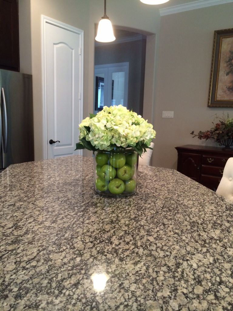 Centerpiece for kitchen island home pinterest for Kitchen table arrangement ideas