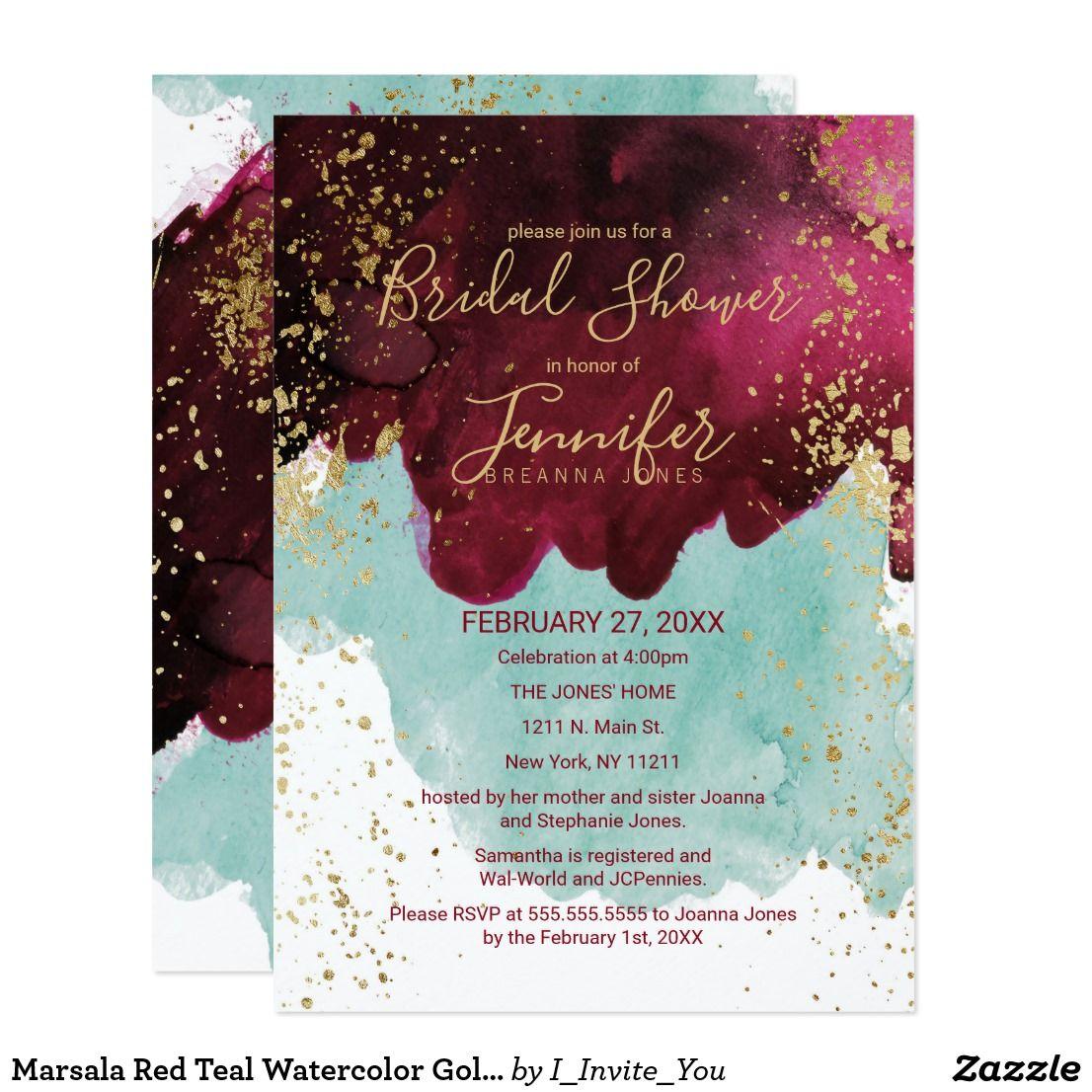 Marsala Red Teal Watercolor Gold Bridal Shower Invitation ...