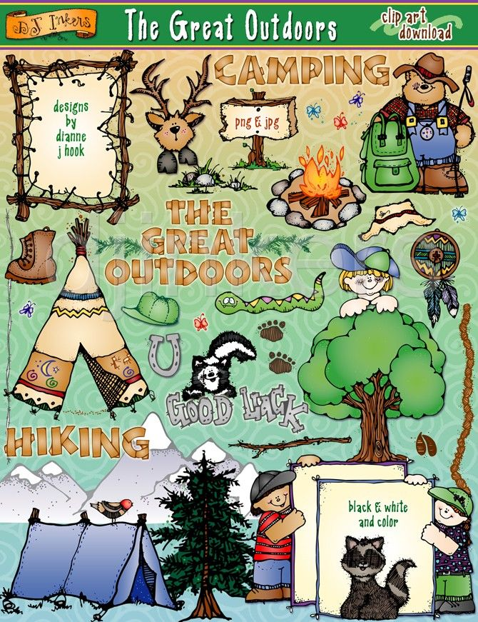 Great Outdoors Camping Clip Art Camp Hike Woods Mountain