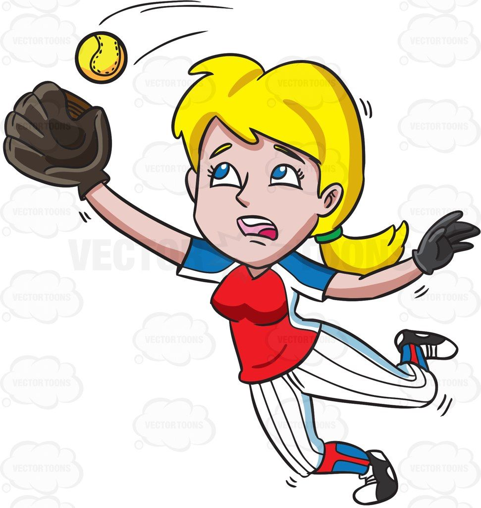 A Female Baseball Player Catching The Ball In The Air ...