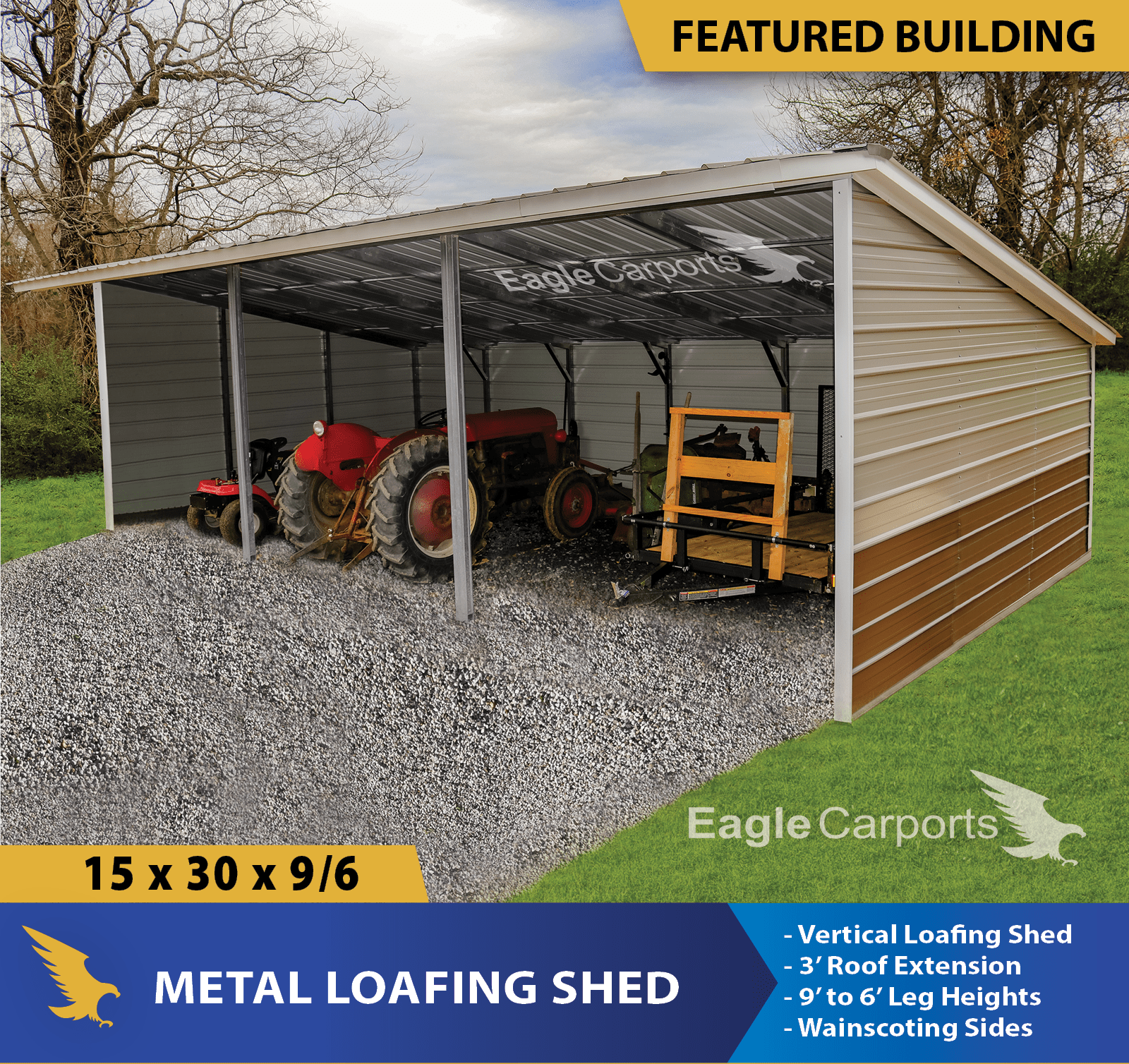 This week's featured building is a 15x30x9/6 Metal Loafing