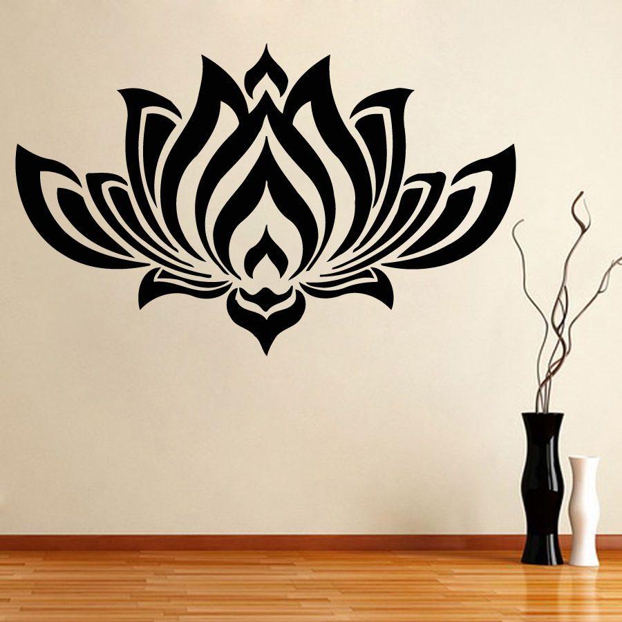 Wall Decals Bedroom Yoga Studio Decal Lotus Flower Vinyl Sticker