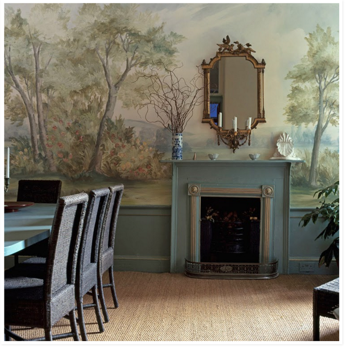 Superior Landscape Mural Wallpaper, Dining Room, Sisal Rug, Jute Rug, Painted Dining  Table, Antique Mirror,