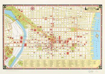 Philadelphia Flat Wrap | Maps | Philadelphia map, Downtown ... on