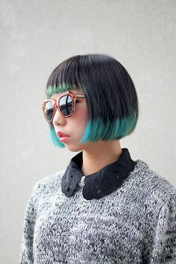 short bob with colored tips hair