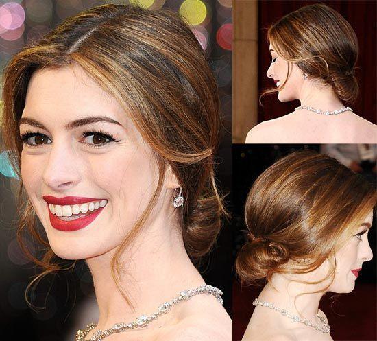 Anne Hathaway Oscar Hair. Low Fanned Out Bun.