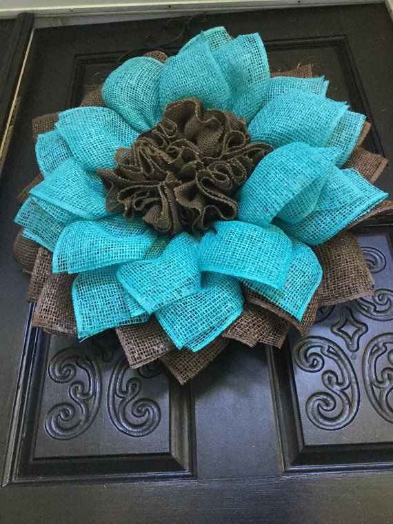 Photo of Chocolate brown and aqua floral wreath, blue poly burlap wreath, brown and blue floral wreath, autumn poly burlap wreath, autumn floral wreath