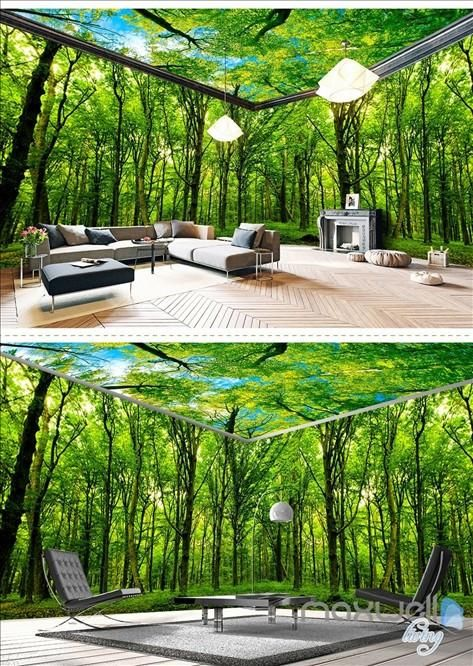 Virgin forest Morning Sunrise theme space entire room wallpaper 3D wall mural decal IDCQW-000046