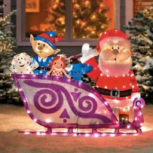 lighted 42 rudolph santa sleigh misfit toys outdoor christmas yard art decor - Misfit Toys Outdoor Christmas Decorations
