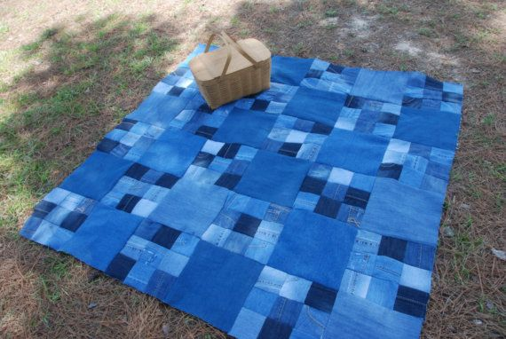 Denim quilted picnic blanket, checkerboard pattern