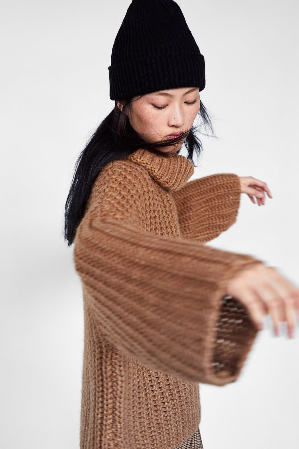 2aeff0f1 Image 4 of OVERSIZED SWEATER from Zara Zara, Beanie, Knit Crochet, Knitting,
