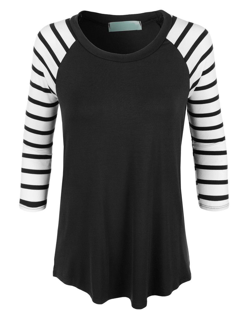 Black t shirt with white stripes - Le3no Womens Loose Round Neck Striped Raglan Sleeve Baseball T Shirt