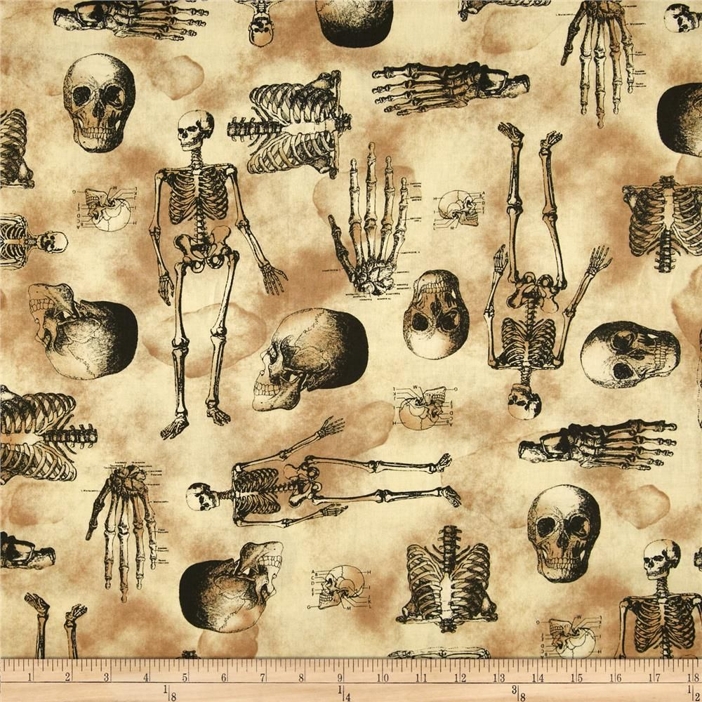 Sleepy Hollow Skeleton Spooky Halloween Fabric Printing On Fabric Quilt Fabric [ 1000 x 1000 Pixel ]