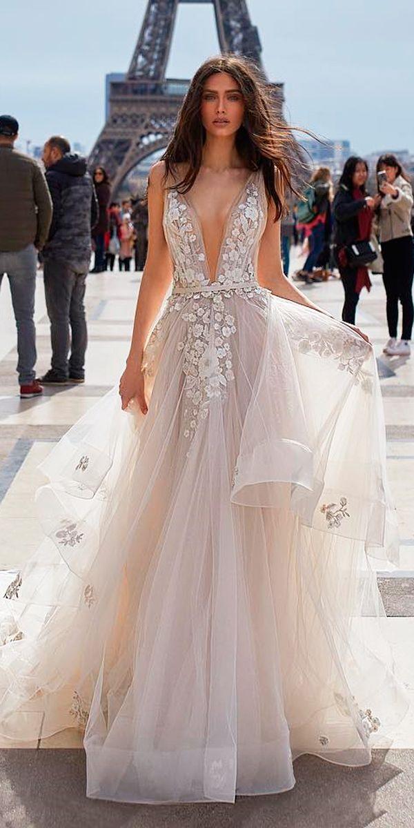 4a0607c50342 30 Revealing New Wedding Dresses 2019 ❤ deep plunging v neck blush bling  sleeveless floral applique