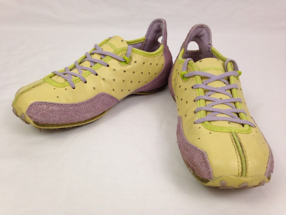 DIESEL ARRAS Womens Shoes 6.5 Leather Yellow Purple Athletic Sneakers S5 09 LS #DIESEL #Athletic #Fitness