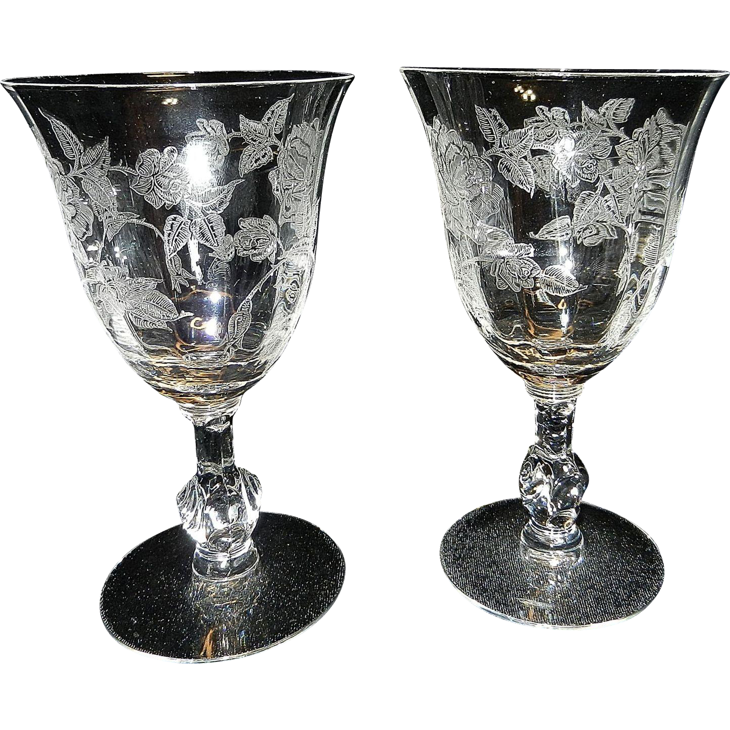 For Sale Is A Set Of 2 Crystal Etched Heisey