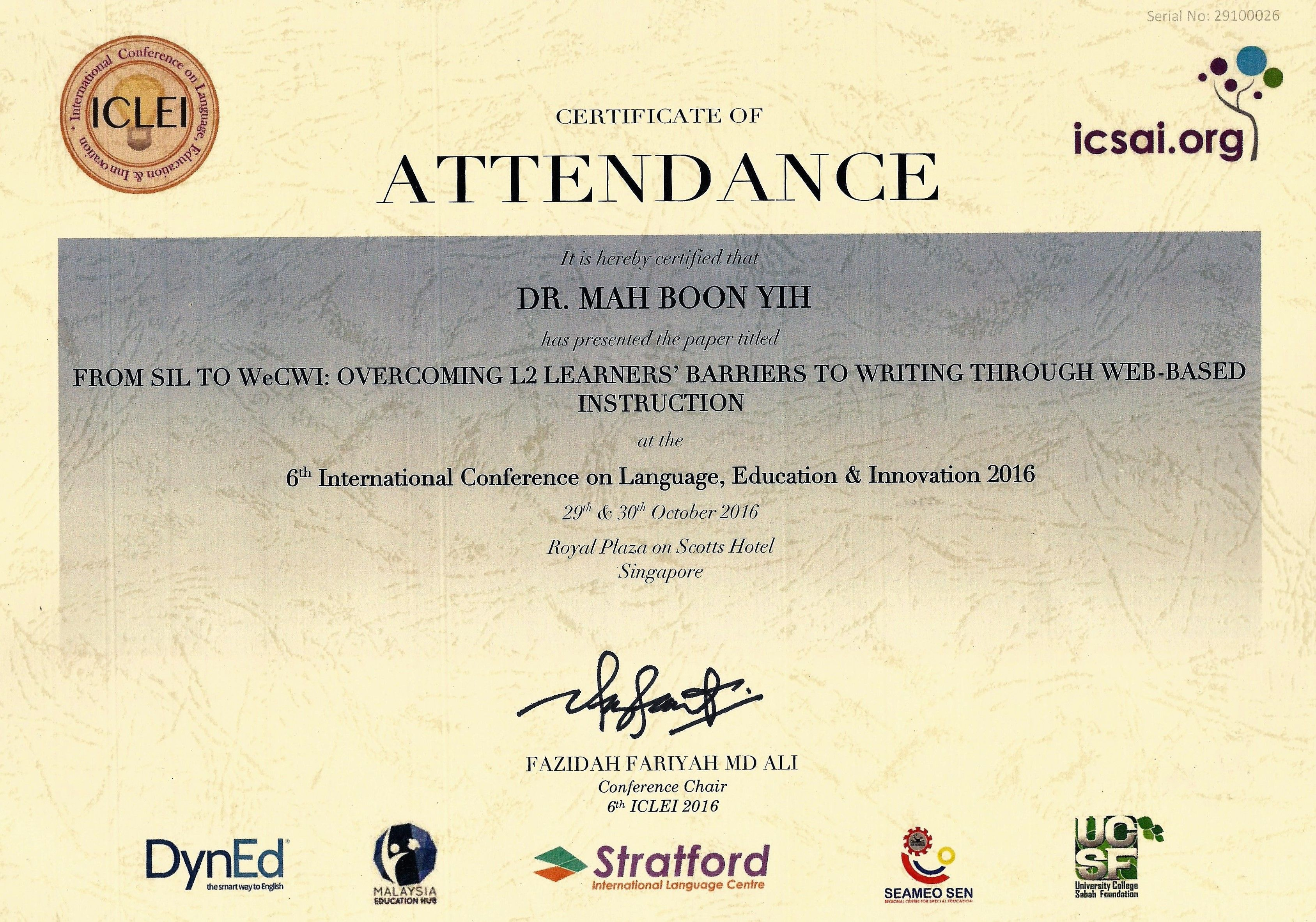 6th international conference on language education innovation international conference on language education innovation certificate of attendance 1betcityfo Image collections