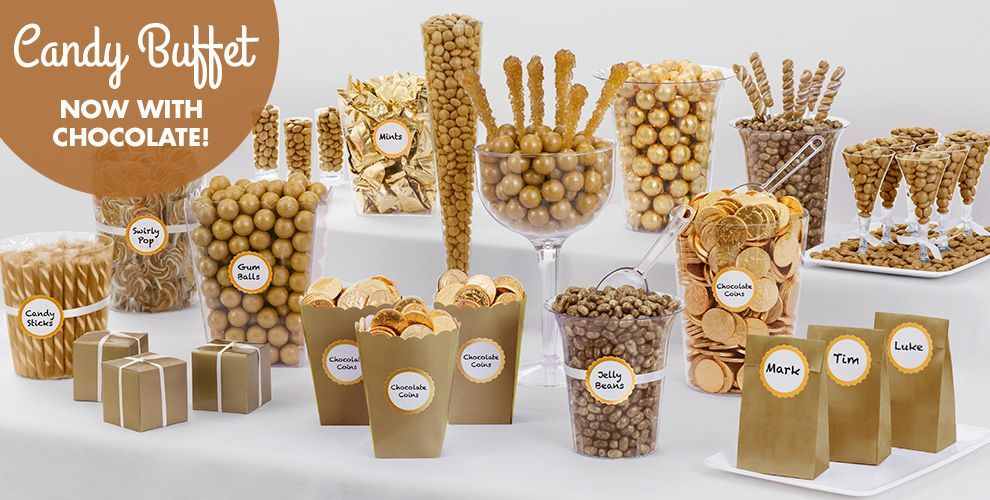 Gold Candy Buffet Supplies Containers Party City
