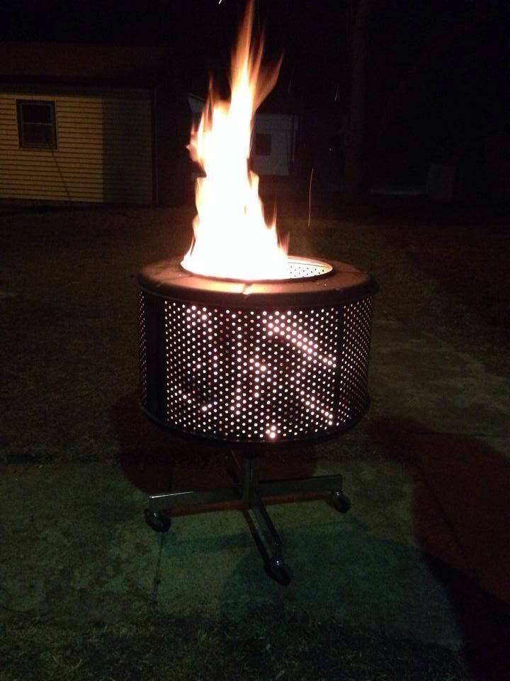 This A Fire Pit I Made With My Son Using A Dryer Drum And An Old Office Chair Fire Pit Chairs Outdoor Chair Pads Used Office Chairs