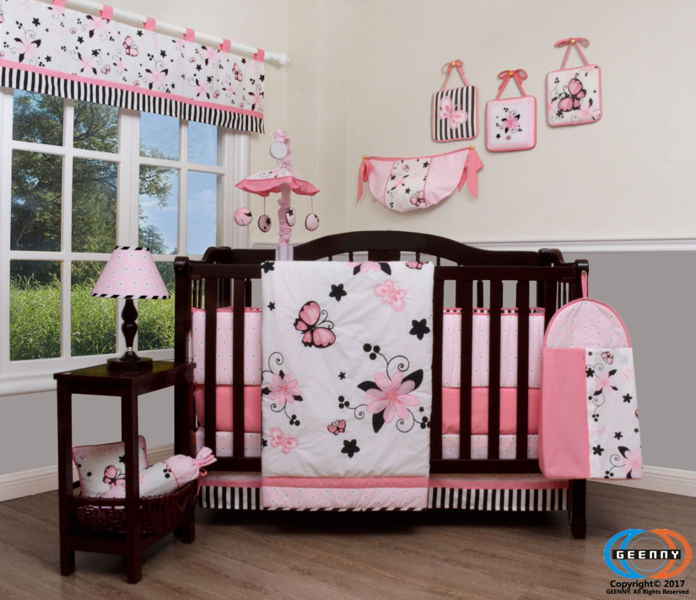 15pcs New Pink Butterfly Baby Crib Bedding Set Including Mobile