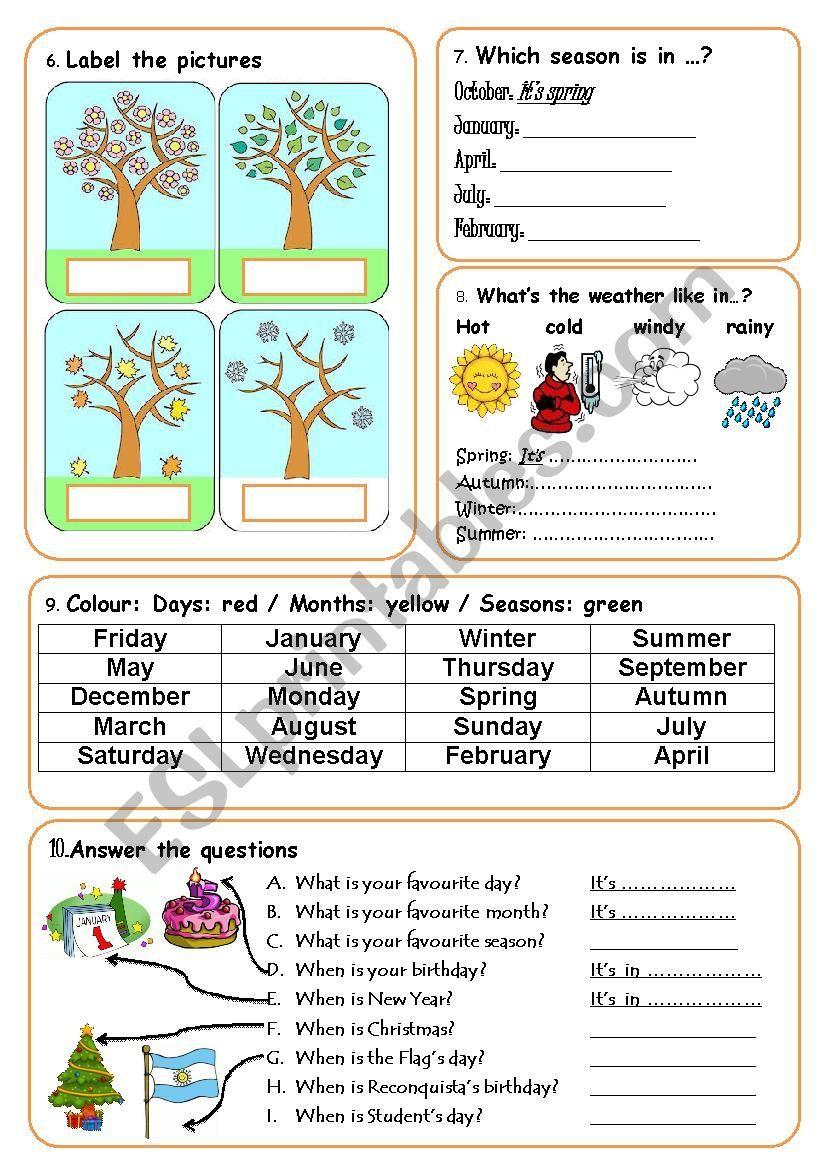 Days Months And Seasons Worksheet Seasons Worksheets English Teaching Resources English Worksheets For Kids [ 1169 x 826 Pixel ]
