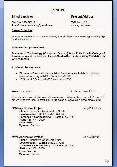 format of cv writing Sample Template Example ofExcellent CV - j2ee fresher resume