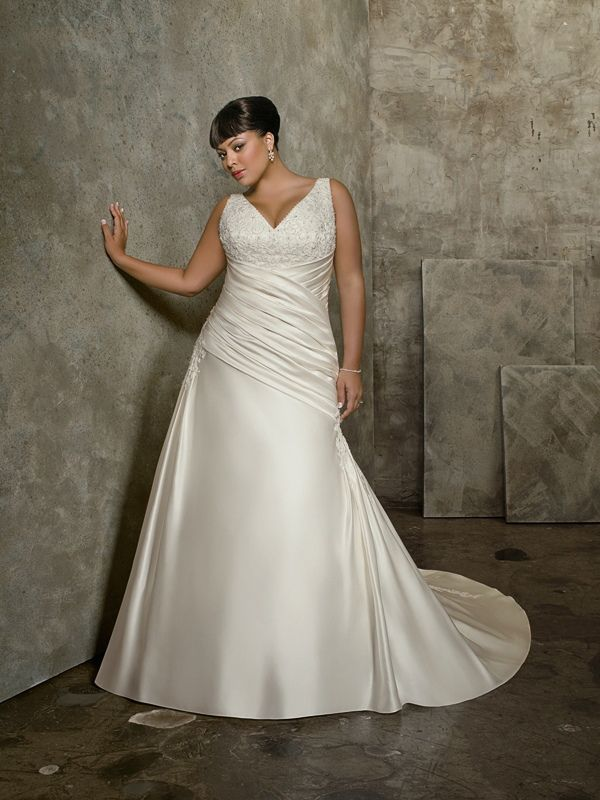 A-Line with Zipper Closure Beading Plus Size Wedding Dress ...