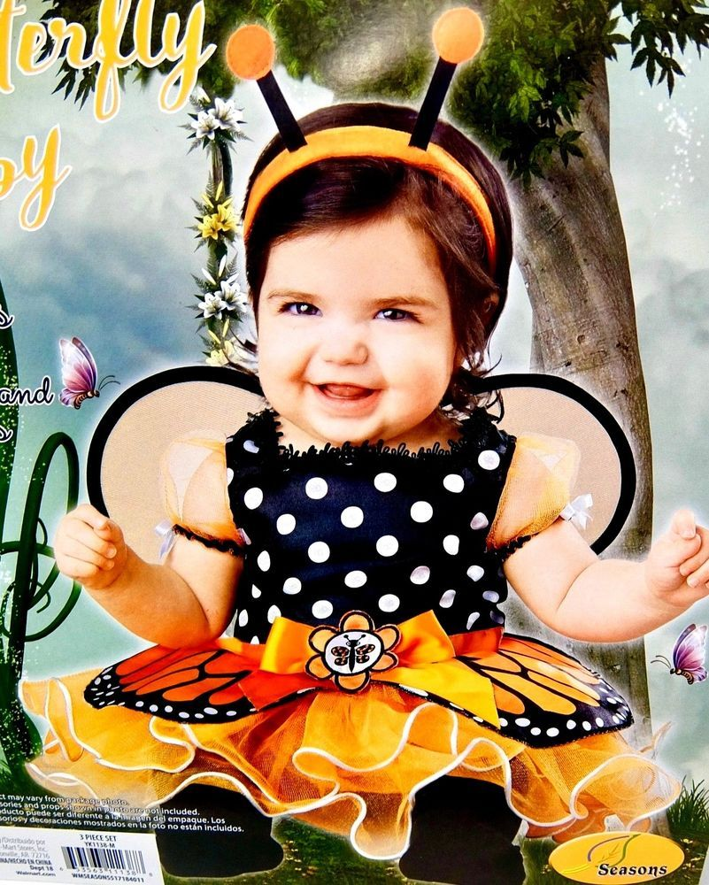 c78b5fcc9011d Baby Girls Halloween Butterfly Costume Orange Black 3 Piece Size 12-18  Months  Walmart  CompleteOutfit