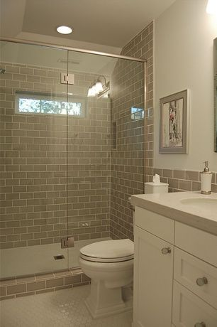 Traditional Full Bathroom with Shower, Paint, wall-mounted above ...