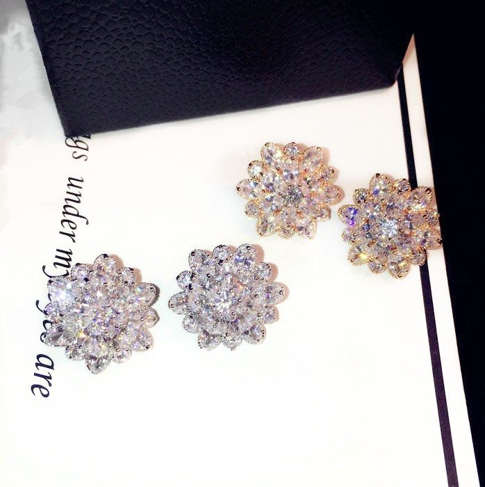 BFQ Luxury Flowers Cubic Zirconia Stud Earrings For Women Elegant Gold Silver Color Party Earrings brincos pendientes orecchini