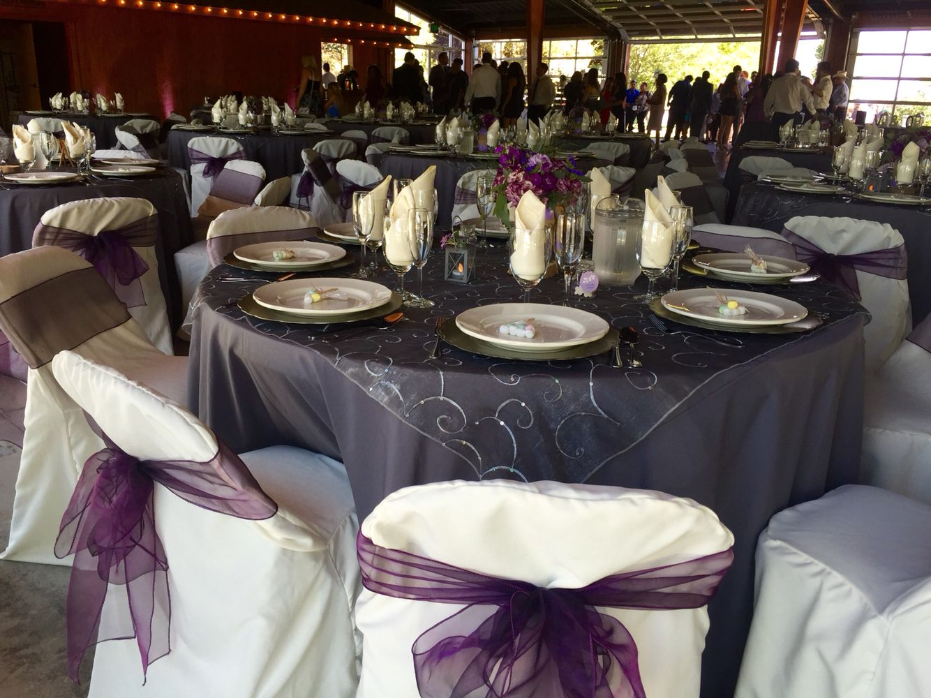 Dark grey table cloth  gray lace overlay  Ivory chair cover  plumb bowDark grey table cloth  gray lace overlay  Ivory chair cover  plumb  . Purple Tablecloths For Wedding. Home Design Ideas