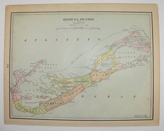 Antique Map Bermuda Islands Map Vintage Map Atlantic Ocean - Bermuda islands map