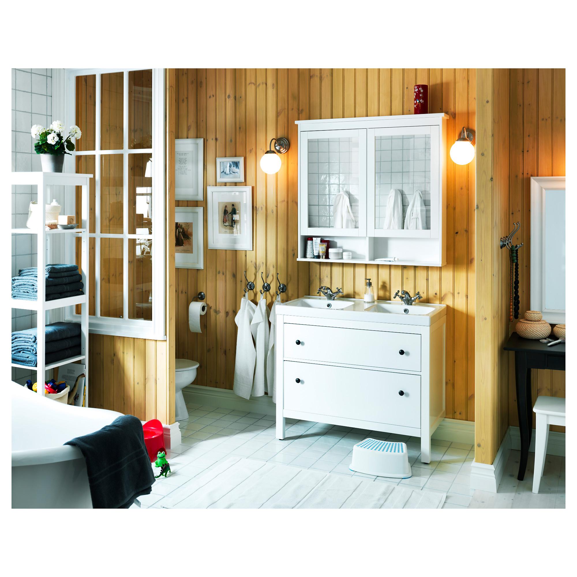 HEMNES white, Mirror cabinet with 2