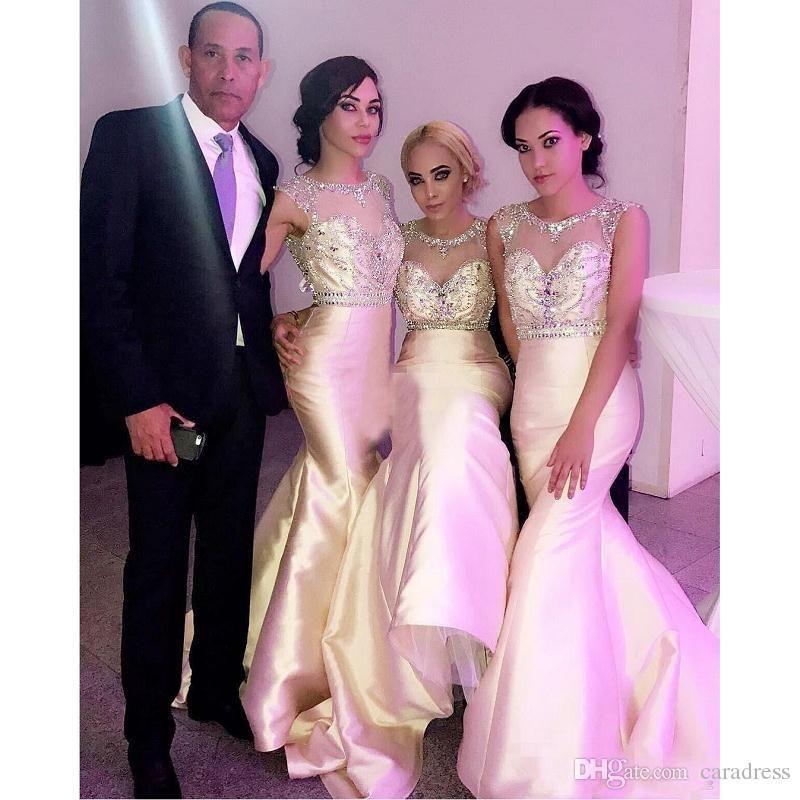 Sparkly Crystals Mermaid Bridesmaid Dresses 2017 Backless Long Sheer ...