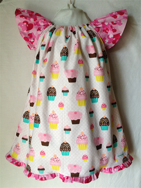 GIRLS DRESS - cupcakes on white - size 3 or 4 | i love green | madeit.com.au