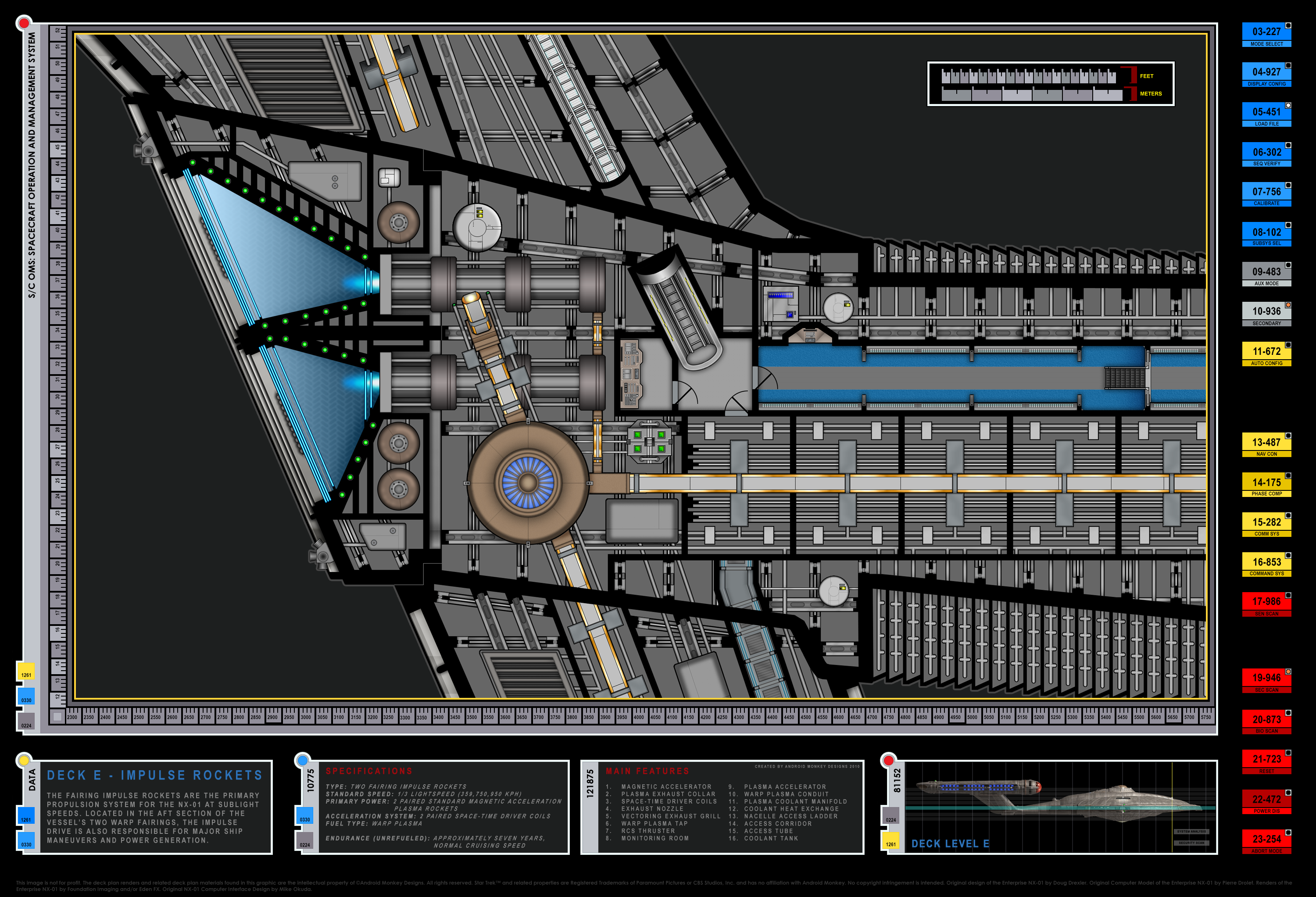 Colored Schematic Of Impulse Engines; Columbia Class Starship; U.S.S. Enterprise  NX 01