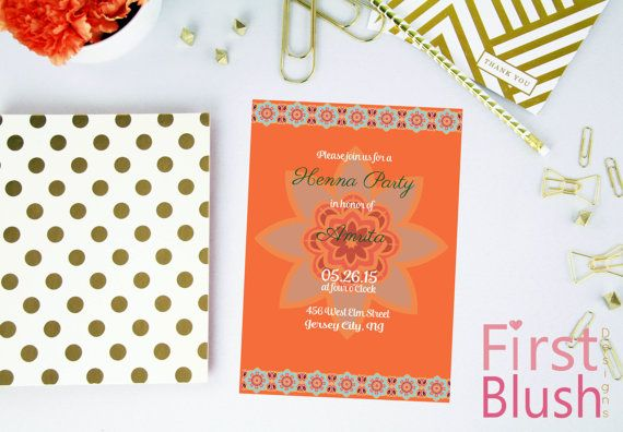Digital Orange Henna Party Invitation Custom Mehndi Night
