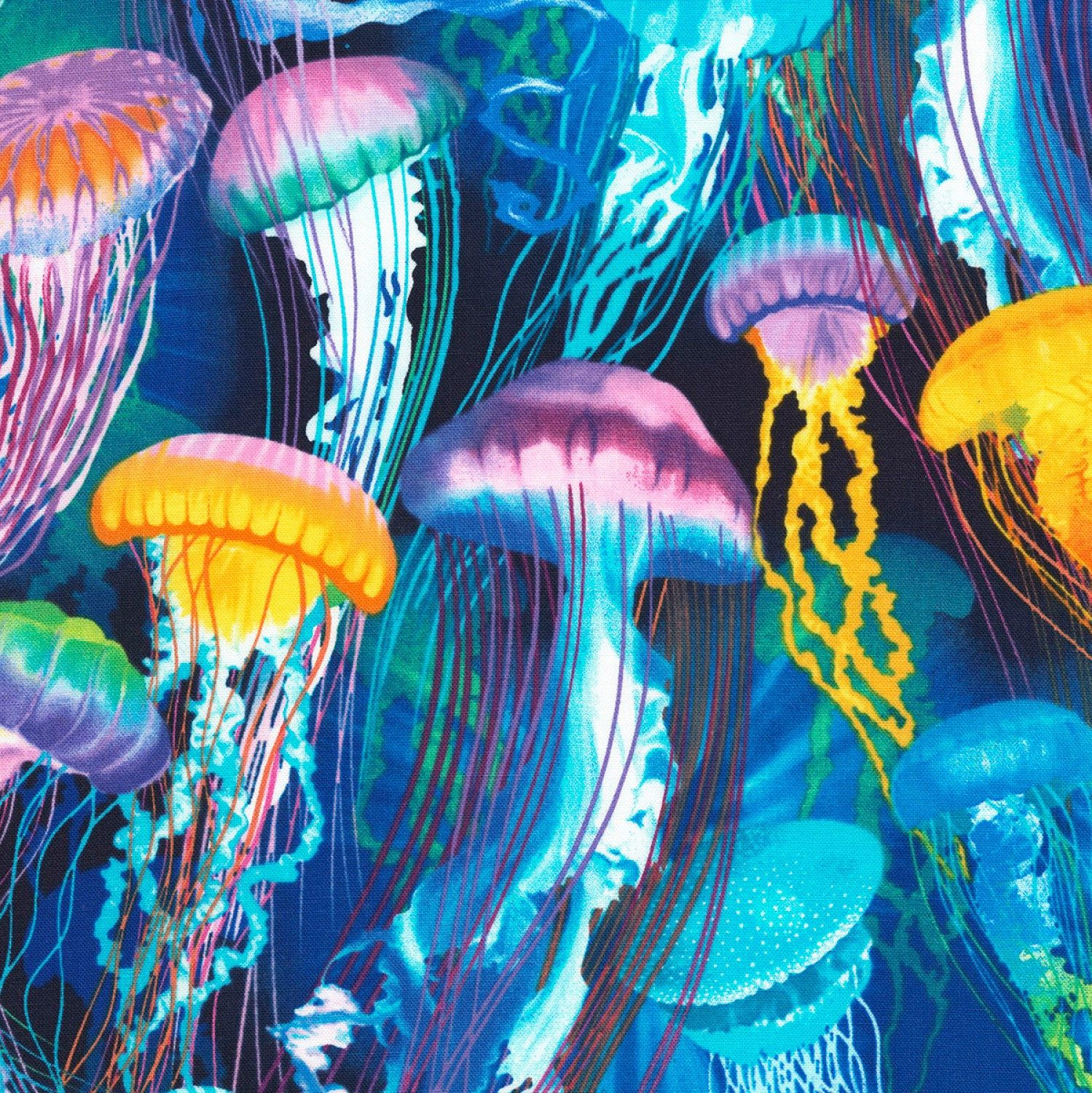 Jellyfish Colorful Underwater Jellyfish in the Ocean Cotton Fabric by the Yard