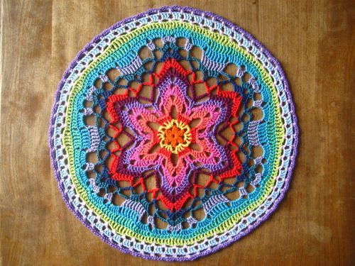 Lucy's version of the star mandala. She's going to do something very fun and cool with them.
