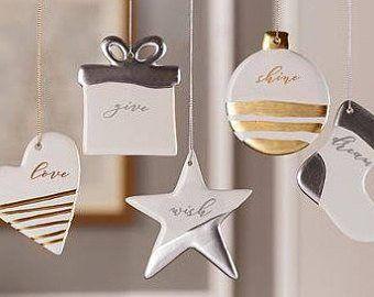 White christmas ceramic star ornament set