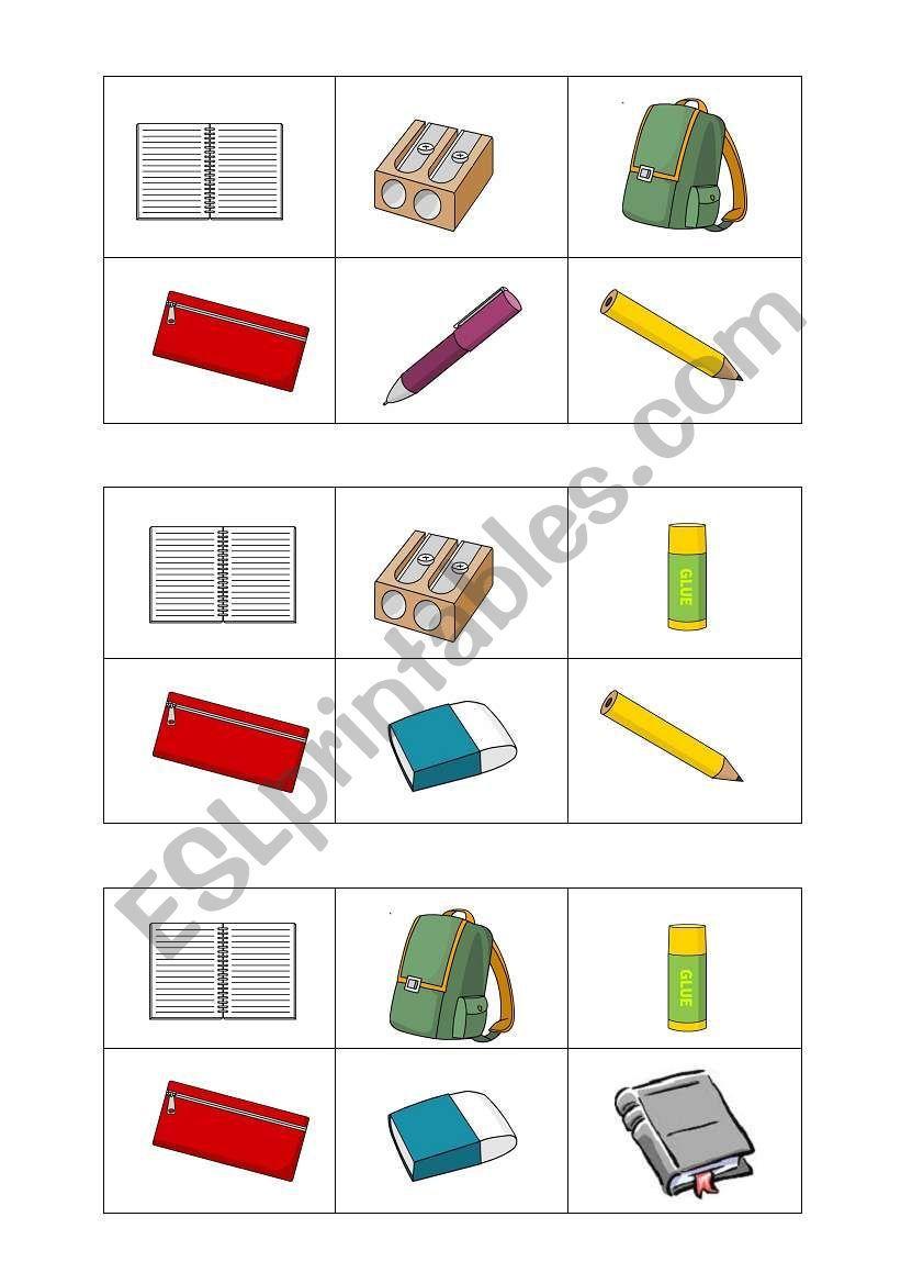 School Objects Bingo Worksheet Bingo Objects School [ 1169 x 821 Pixel ]