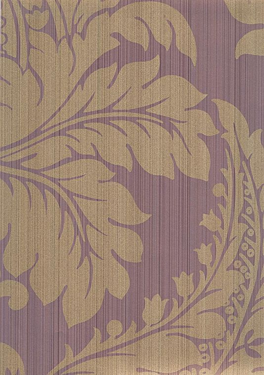 Malmaison wallpaper gold damask wallpaper with strie background in purple this wallpaper has a gold pearlised finish