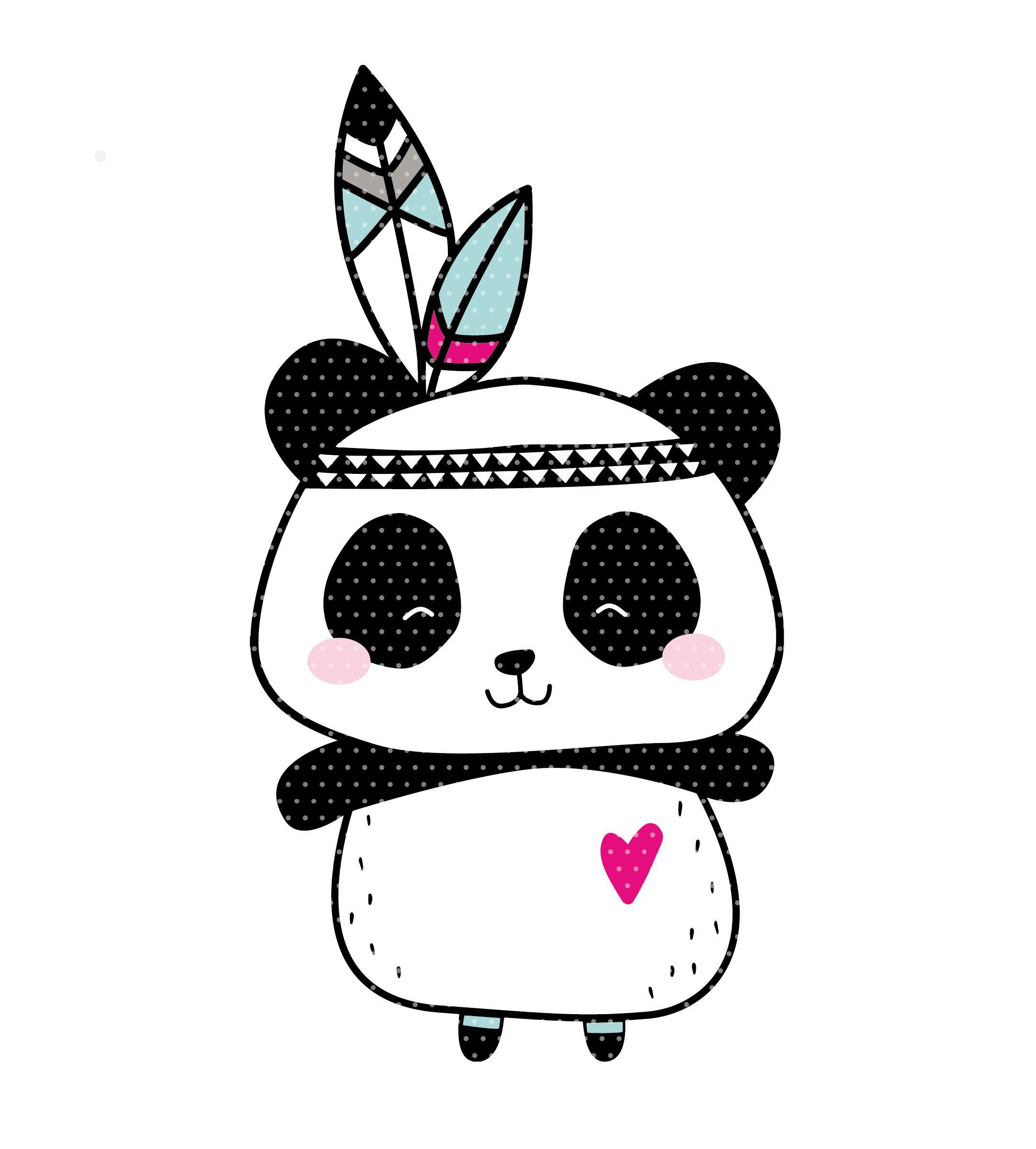 stickdatei boho panda indianer  tier wallpaper kinder